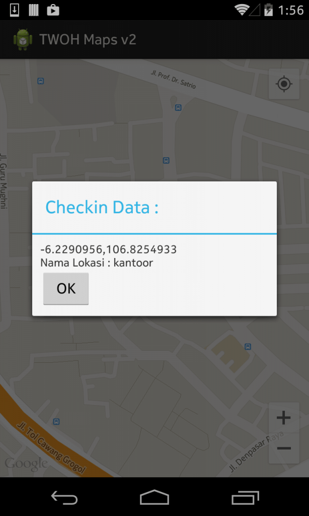 Data check in ketika marker di klik