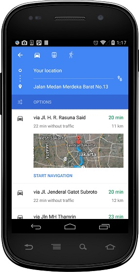 Detail rute Map Toolbar Play Services 6.5
