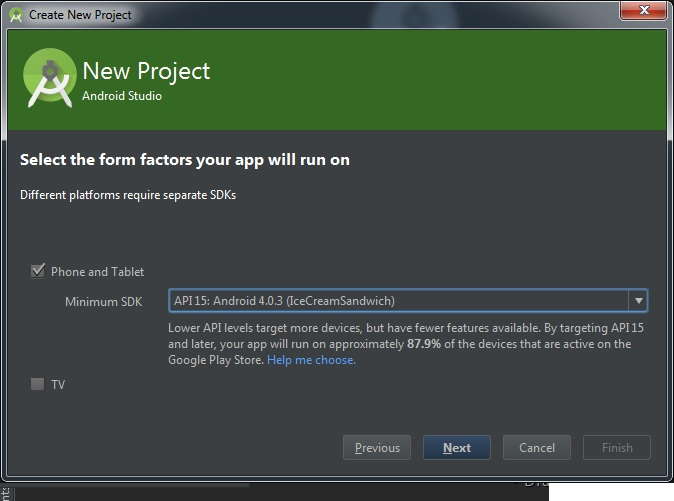 Pilih minimum SDK Android Studio