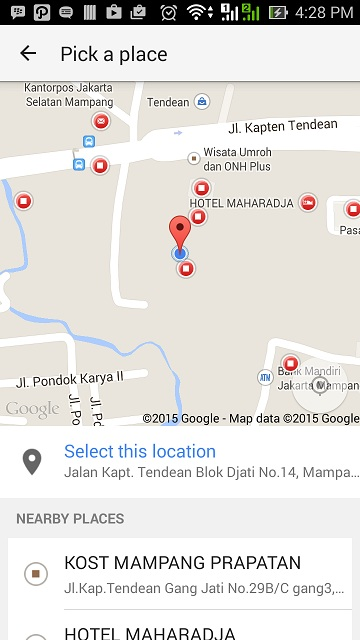 Tampilan Google Place Picker | Places API