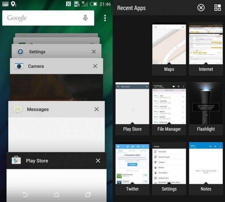 Contoh daftar recent apps