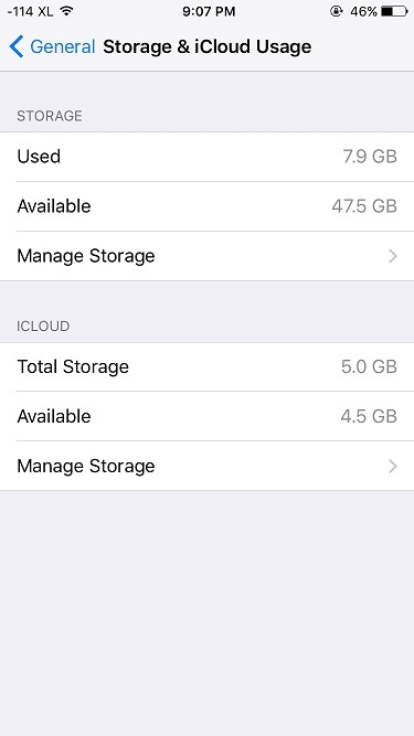 Tampilan menu storage pada iPhone Settings