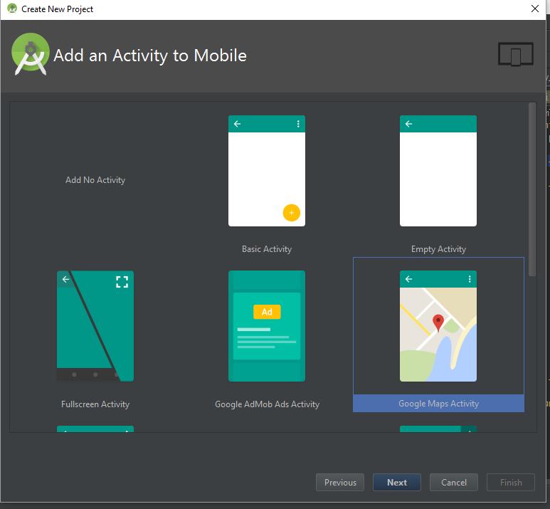 Memilih template untuk Google Maps Activity pada Android Studio