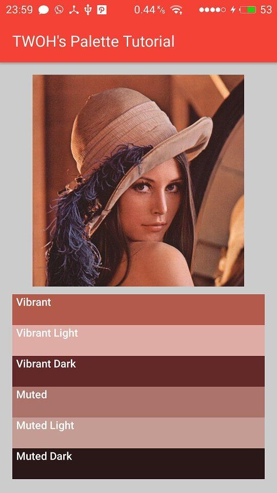 Palette dari gambar Lena