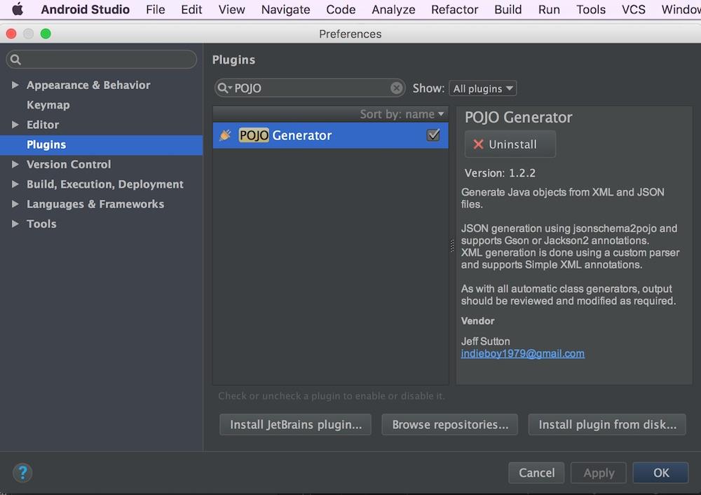 Pojo Generator plugin di Android Studio